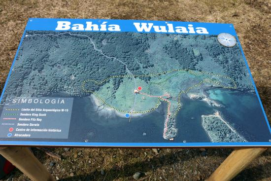 Isla Navarino, Cile: Bahia Wulaia, map of the area