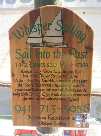 Whisper Sailing: Sign at dock