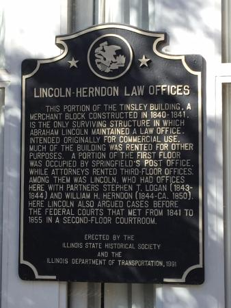 Old State Capitol State Historic Site: Plaque on the Building Housing the Lincoln-Herndon Law Office, Springfield, Illinois