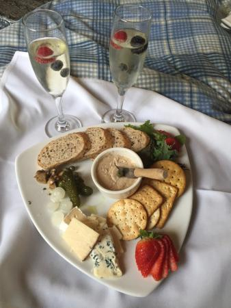 Gores Landing, Canada : Smoked trout pate plate.  An afternoon treat with some bubbly.