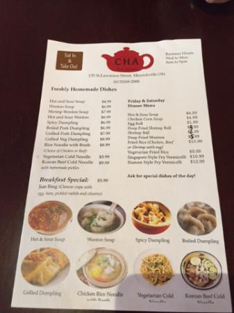 Merrickville, Kanada: The Menu