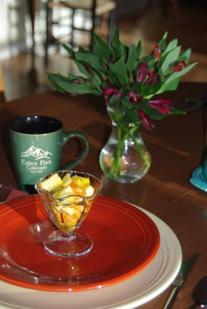 Estes Park Bed & Breakfast: Fresh fruit and coffee with breakfast