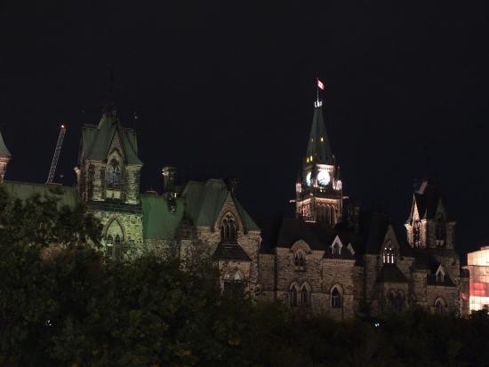 Ottawa, Canada: Parliament Hill buildings at night