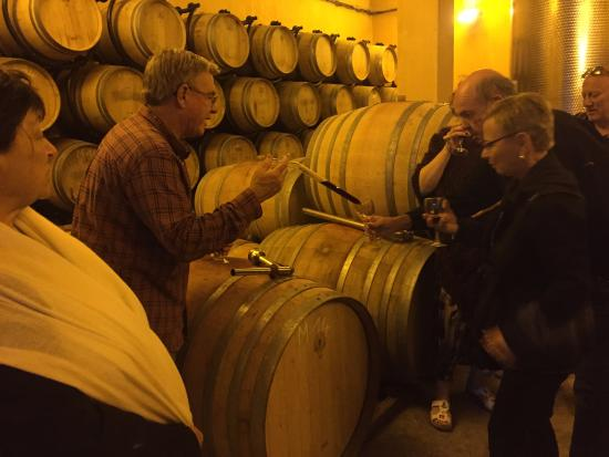 Villemoustaussou, França: Barrel tasting to start off the wine & dine evening