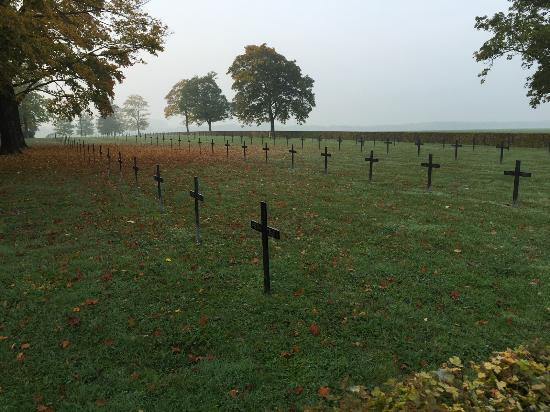 Entente Cordiale Tours: A German cemetery, quite a contrast to the US cemeteries we saw.