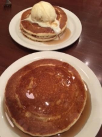 The Pancake Parlour: Two short stacks, one with ice cream, one with maple syrup