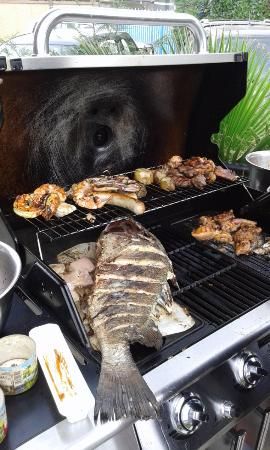 Le Grand Reve : Sunday BBQ, whole fish, gambas, German sausages, beef medallions and chicken Yakitori
