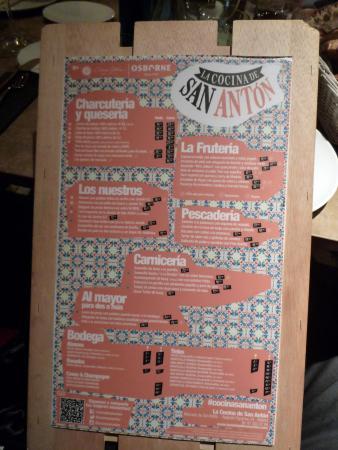 Carta Picture Of La Cocina De San Anton Madrid Tripadvisor