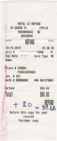 Lennoxville, Canada: Second refund 69.68
