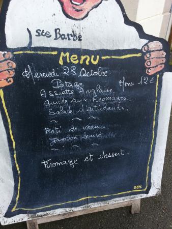 Plouaret, Frankrike: The menu- changes daily