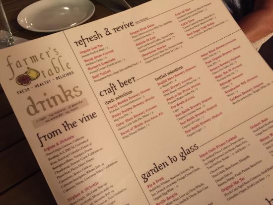 Menu Selection Picture Of Farmers Table Boca Boca Raton - Farmers table menu