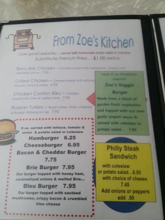 Zoes Kitchen Menu menu - picture of zoe's vintage kitchen, atlantic highlands