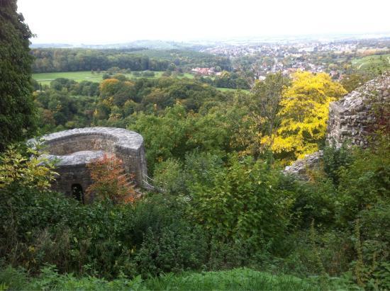 Hotel am Park: Blick von der Burg Baden ins Tal, Mammutbaum im Park und die Thermenausgrabung aus der Römerzeit