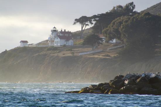 Central Coast Sailing Charters: The historic Port San Luis Lighthouse as seen from the deck of our boat