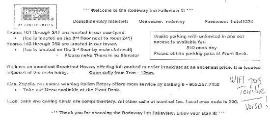 Rodeway Inn Fallsview: Wifi was not good