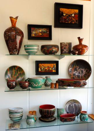 Floyd, VA: Selection of Ed Barnes wall pieces and Julie Covington pottery
