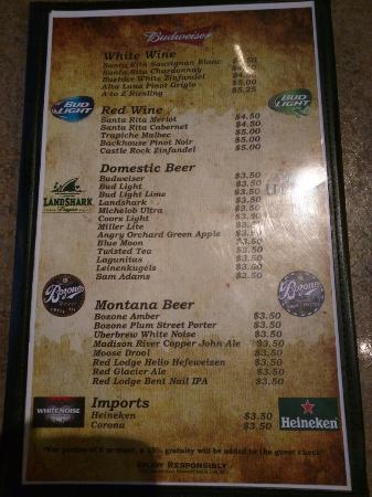 Bullman's Wood Fired Pizza: Drink List