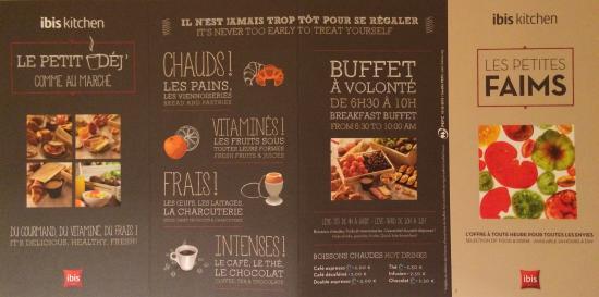 Ibis Carcassonne Est la Cite : Les cartes des menus classiques et celle du bar (possible en chambre)