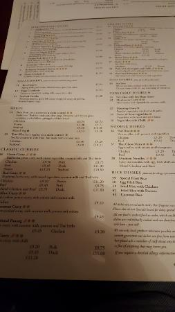 The Three Tuns: Menu