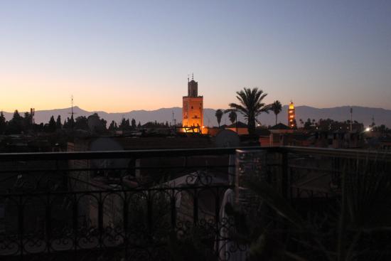 Riad Mboja : vue de la terrasse