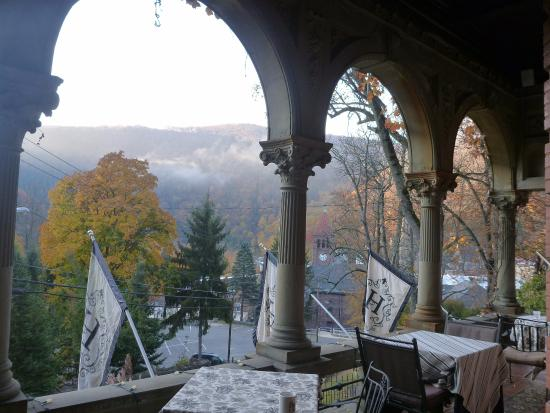 The Harry Packer Mansion Tours: early morning view from the veranda