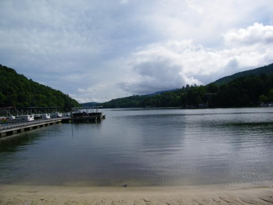 Lake Lure from beach at Rumbling Bald