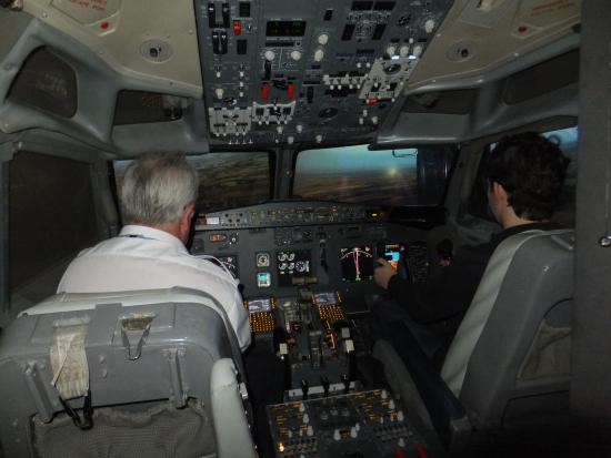 Coventry, UK: This here is the cockpit of the simulator . The real thing and the simulator look alike!