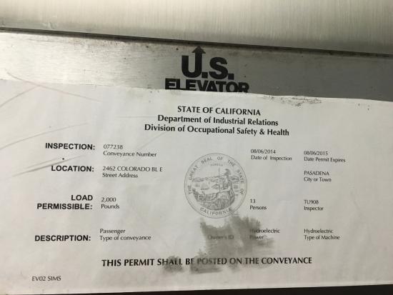 Comfort Inn Near Pasadena Civic Auditorium: Elevator permit
