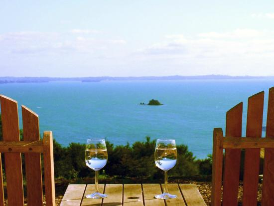 Koi Roc Waiheke Island Accommodation: the Pad sea views over Koi Island