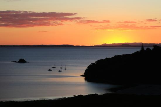 Koi Roc Waiheke Island Accommodation: the Pad sea view at dusk