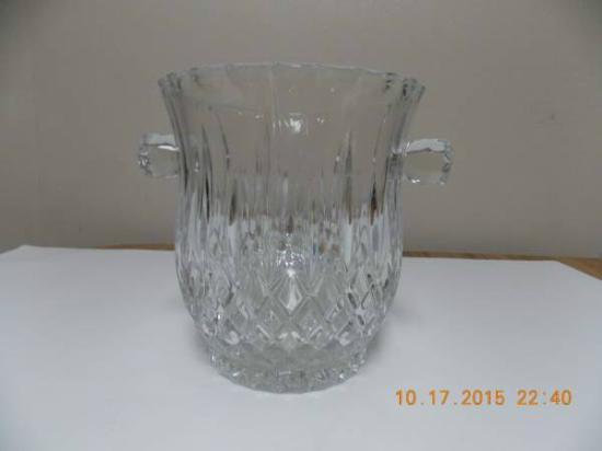 Rare Double Handle 1980s Gorham Crystal Ice Bucketwine Cooler
