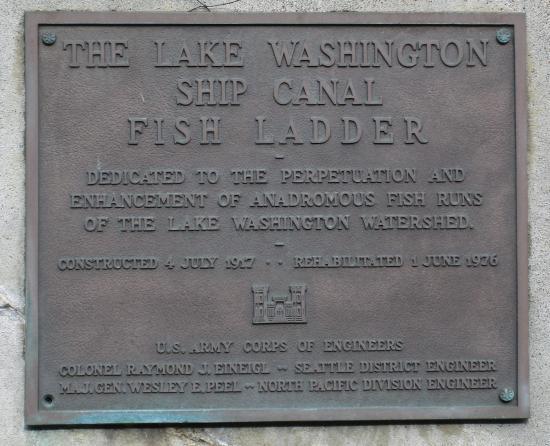 Hiram M. Chittenden Locks: Fish Ladder plaque, Ballard Locks, Nov. 3, 2015