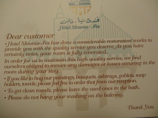 Hotel Mounia: Weird note in room aimed at guests who steal...