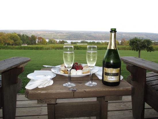Dundee, نيويورك: cheese platter and champagne as we take in the beautiful views