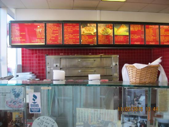 Menu boards in the Pizzeria in L'osteria Mondello Italian