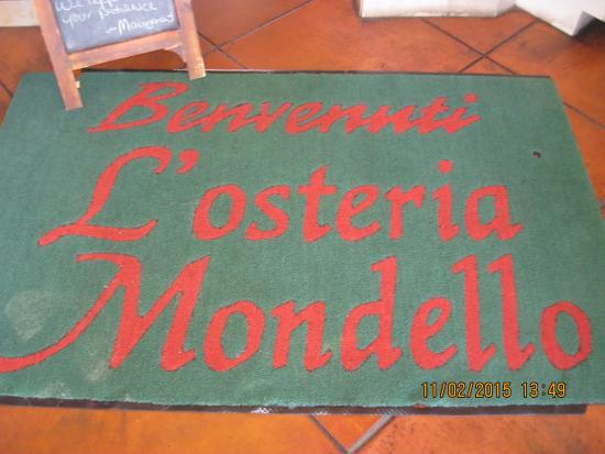 L'osteria Mondello Italian: Welcome matt
