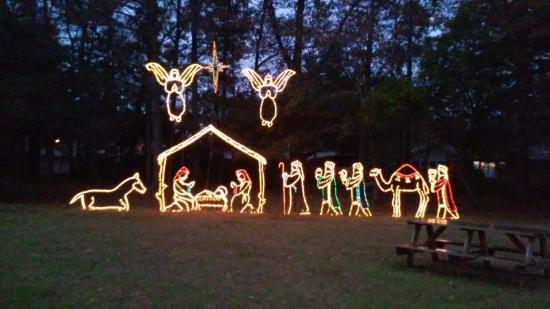 Swan Lake Iris Gardens: Beautiful display of xmas lights Swan Lake  December