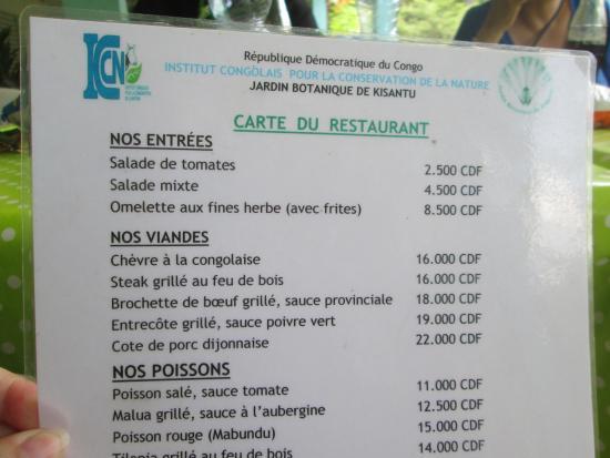 Menu picture of jardin botanique de kisantu kisantu tripadvisor - Jardin des crayeres menu ...