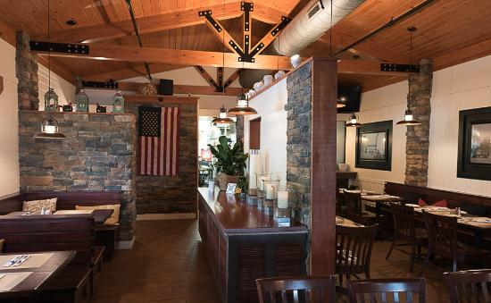 Kennedyville, MD: Timber frame ceiling and bright dining room