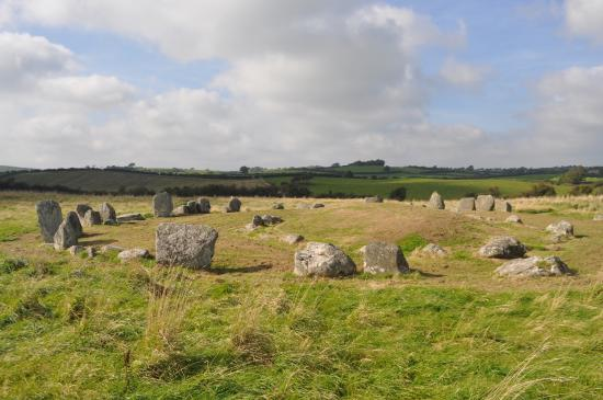 Ballynoe Stone Circle : view of stone circle from end of hedged laneway.