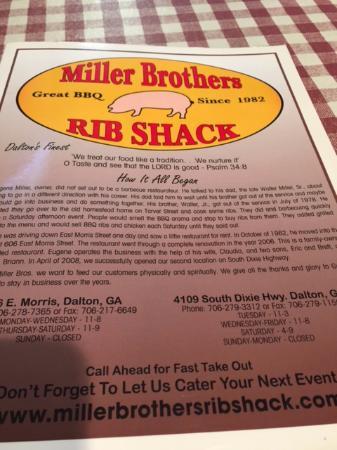 Miller Brothers Rib Shack: Menu