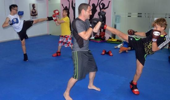 Kickboxing class at Body Shape Fitness in Thao Dien area