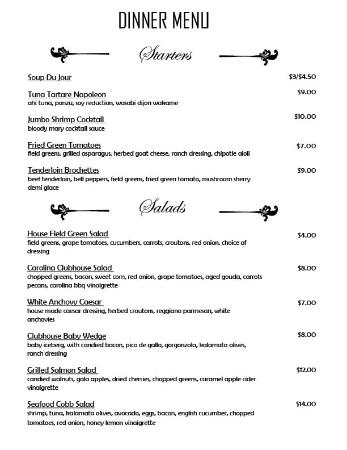 Hertford, Carolina del Norte: Clubhouse Dinner Menu