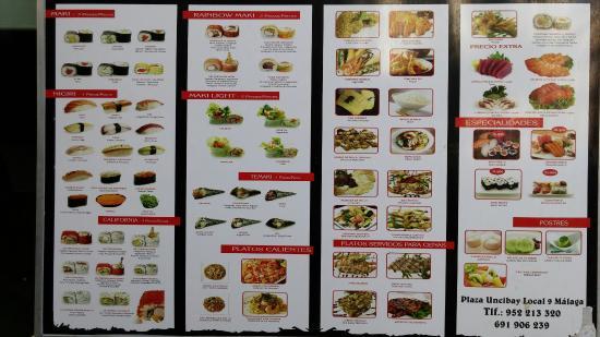 Carta fotograf a de restaurante japones arigato m laga for Plaza uncibay
