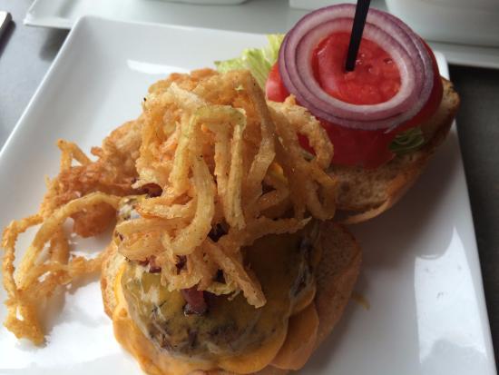 Square Burger: Burger w/fried onions, lettuce & tomato