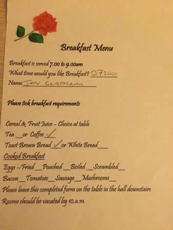 Rose Corner: Breakfast Menu