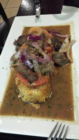 Wilton Manors, Flórida: Chupe de camarones, lomo saltado con tacu-tacu, pescado al ajo con tacu-tacu. Rocoto.