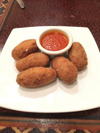 Jalapeno's: Croquetas appetizer (béchamel mixed with beef, rolled in bread crumbs and egg and fried)