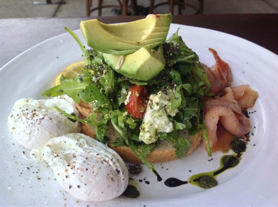 Ave Cucina and Coffee Bar: Avacado Stack with additional extras - poached egg, smoked salmon