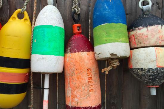 Bernard, ME: Colorful buoys next to Thurston's